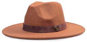 Chapéu Fedora Aba Média 8cm Colors Coleção Couro Madeira