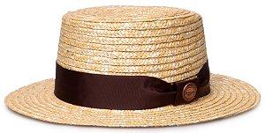 Chapéu Boater Palheta Aba Curta 5cm Palha Dourada Faixa Gorgurão Marrom