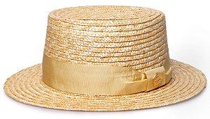 Chapéu Boater Palheta Aba Curta Palha Dourada Faixa Gorgurão Dourado