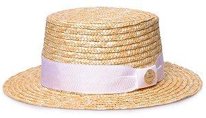 Chapéu Palha Dourada Palheta Aba Média 5cm Faixa Gorgurão Branco