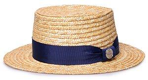 Chapéu Boater Palheta Aba curta 5cm Palha Dourada Faixa Gorgurão Azul Marinho