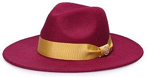 Chapéu Fedora Vinho Aba 7cm Gorgurão dourado