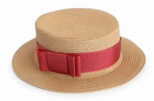 Chapéu Palheta Caramelo Faixa Vermelha Customizada