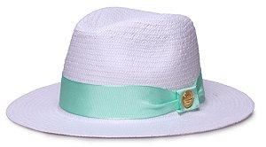 Chapéu Fedora Branco Aba Reta 7cm Palha Shantung Gorgurão - Tons Claros