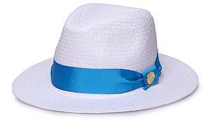 Chapéu Estilo Panamá Branco Aba Média Palha Shantung Gorgurão - Tons Escuros