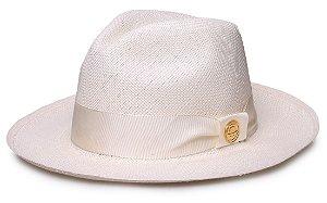 Chapéu Panamá Legítimo Aba Média Faixa Branca Coleção Gorgurão