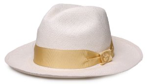 Chapéu Panamá Legítimo Aba Média Faixa Gorgurão Dourado