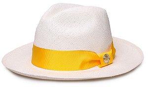 Chapéu Panamá Legítimo Aba Média Faixa Amarelo Coleção Gorgurão