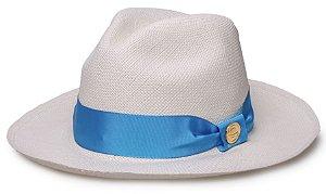 abb0804647d90 Chapéu Panamá Legítimo Aba Média Faixa Azul Gorgurão - Compre com ...