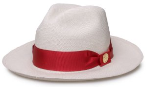 Chapéu Panamá Legítimo Aba Média Faixa Gorgurão Vermelho