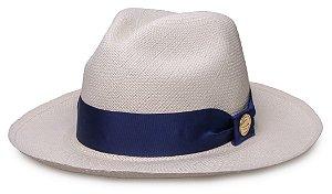 Chapéu Panamá Legítimo Aba Média Faixa Azul Marinho Coleção Gorgurão