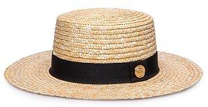 Chapéu Boater Palheta Palha Dourada Aba 9 cm