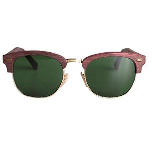 Óculos ClubTree Madeira Verde Militar com Vermelho