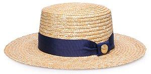 Chapéu Palheta Palha Dourada Aba 9 cm Gorgurão Azul