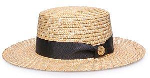 Chapéu Palheta Palha Dourada Aba 9 cm Gorgurão Preto