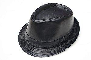 Chapéu Fedora  Preto Couro Aba Curta 3,5cm Edição Limitada