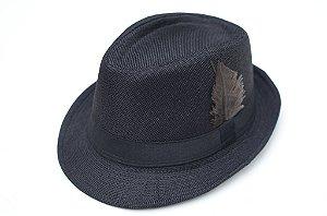 Chapéu Fedora Tecido Preto Pena Edição Especial