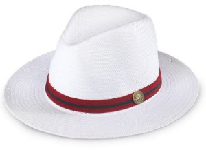 Chapéu Estilo Panamá Branco Aba Média 7cm Shantung Faixa Stripes - Shamoraiss