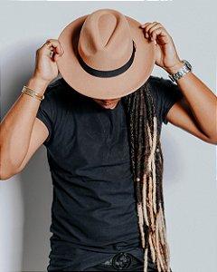 Chapéu Fedora Bege Aba Reta 6,5cm Feltro Faixa Clássica Masculino