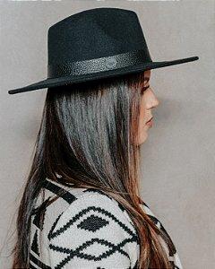 Chapéu Feminino Preto Aba Grande Fedora  8 cm Texture
