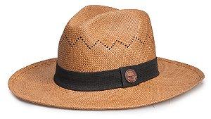 Chapéu Panamá Caramelo Aba grande Vazado