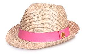 Chapéu Bege de Palha Aba curta Verão Faixa Couro Rosa