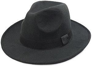 Chapéu Fedora Feltro Preto Aba Média Clássico 100% Lã