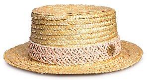 Chapéu Palheta Palha Dourada Faixa Custom Bege Trançada