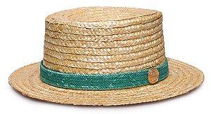 Chapéu Palheta Palha Dourada Faixa Custom Palha Verde Água