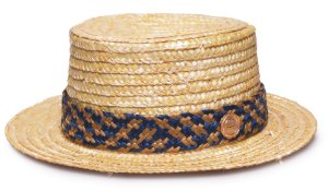 Chapéu Palheta Palha Dourada Faixa Custom Azul e Bege