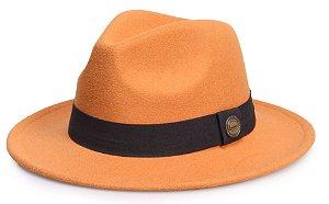 Chapéu Fedora Caramelo Claro Aba Média 6,5cm