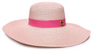 Chapéu de Praia Palha Rosa Claro Aba Grande Coleção Couro