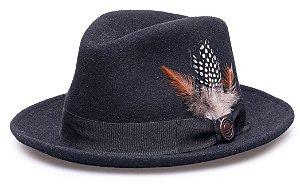 Chapéu Fedora Preto 100% Lã Aba 4cm Premium Hats Pena
