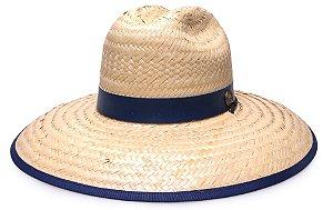 Chapéu de Palha Surf Aba Grande Tecido Azul