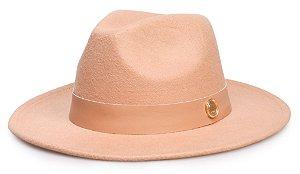 Chapéu Fedora Bege Aba 7 cm Faixa Nude