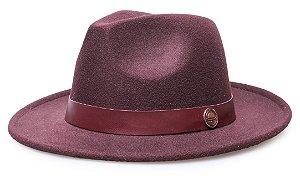 Chapéu Fedora Marsala Aba média 6,5 cm Faixa Vinho