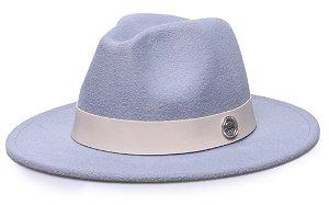 Chapéu Fedora Cinza Claro Aba 7 cm Coleção Couro