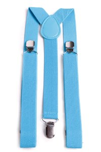 Suspensório 2,5cm Unissex Azul Turquesa