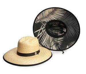 Chapéu de Palha Surf Estampado Preto Folhas secas