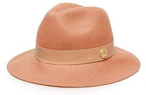 Chapéu  Fedora Caramelo Maleável 100% Lã Faixa Bege