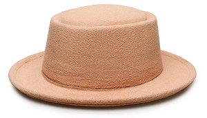 Chapéu Pork Pie Bege Aba média 6cm Liso