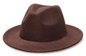Chapéu Fedora Marrom Aba Reta 6,5cm Feltro Liso