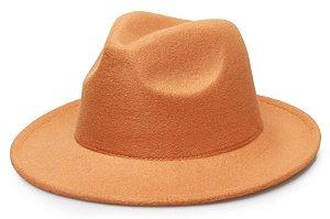Chapéu Fedora Caramelo Claro Aba Reta Feltro 6,5cm Liso