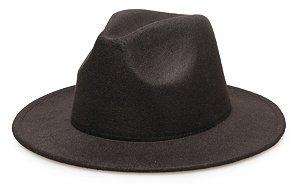 Chapéu Fedora Preto Aba Reta 7cm Feltro LISO
