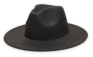 Chapéu Fedora Preto Aba média 8cm Liso