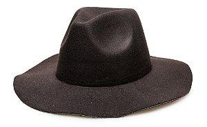 Chapéu Fedora Preto Aba Média Maleável 7cm Liso