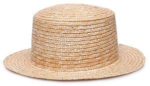 Chapéu Boater Palheta Aba Curta 5 cm Palha Dourada LISO