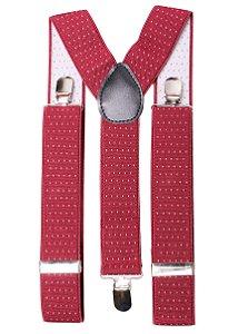 Suspensório Vermelho Estampado Largo Couro Preto 3,5cm
