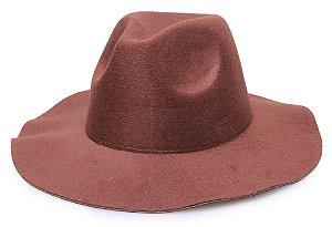 Chapéu Fedora Marrom Aba Maleável 7cm Liso