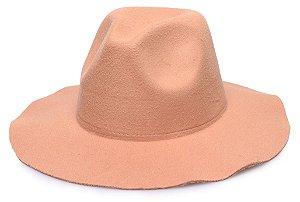 Chapéu Fedora Bege Aba Maleável 7cm Liso
